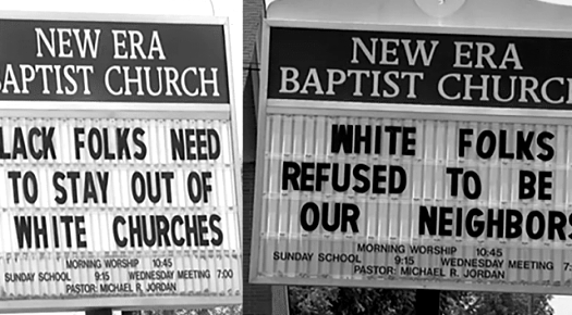 "A black pastor from Alabama has been accused of reverse racism after displaying ""Black folks need to stay out of white churches."""
