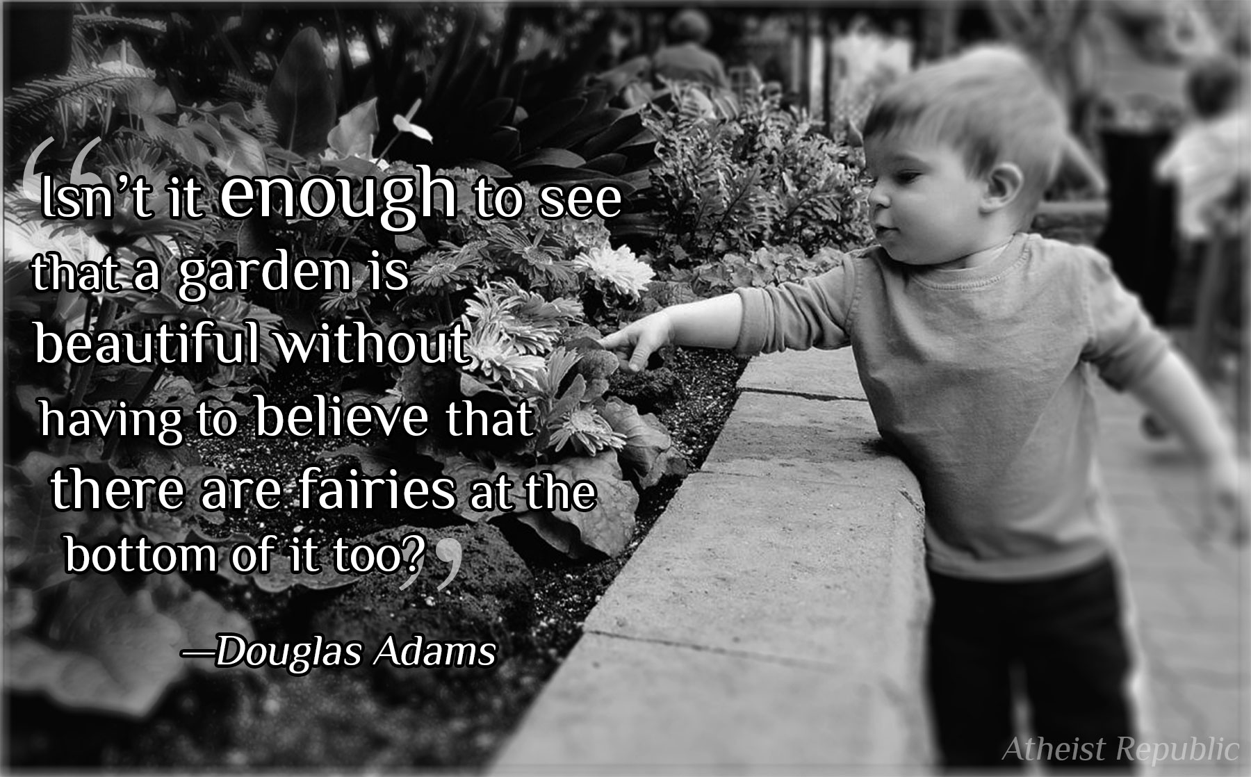 Douglas Adams: Isn't it enough to see that a garden is beautiful
