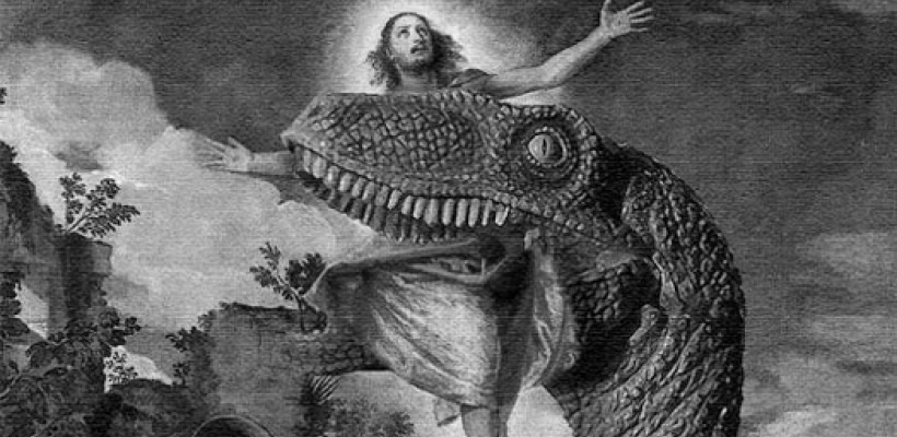 Jesus being eaten by dinosaur