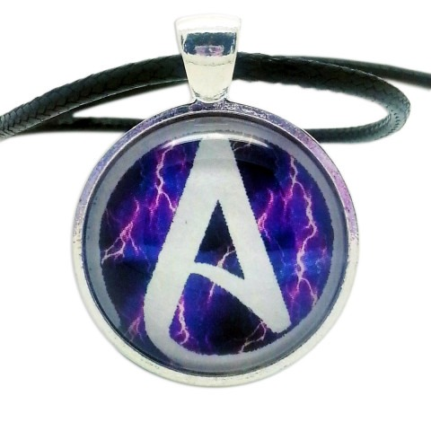 Atheist Logo White Lightning Pendant Necklace