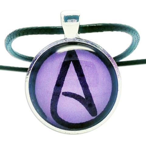 Atheist Logo, Purple Pendant Necklace