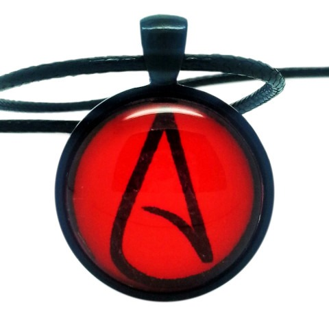 Atheist Logo, Red and Black Pendant Necklace