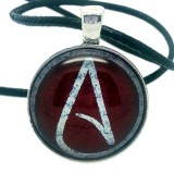 White and Red Atheist Logo, Pendant Necklace