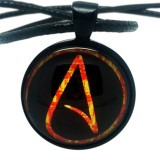 Atheist Logo, Black and Orange Pendant Necklace