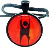 Humanist Logo, Black and Orange Pendant Necklace