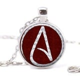 Atheist Logo, Wine Red and White Pendant