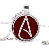 Atheist Logo, Wine Red and White Pendant