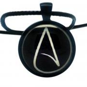 Atheist Logo, Black and White Pendant Necklace